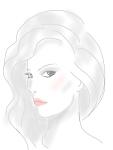 black and white fashion drawing, pout