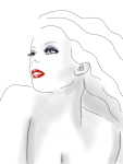 fashion illustration black and white and red
