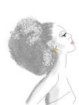 woman with afro. black and white and red, star earring