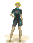 woman in shorty wetsuit