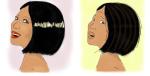 woman happy and sad, by kim dolan