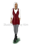 fashion drawing by kim dolan, red tunic, grey leggings