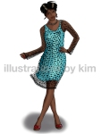 blue dress with black dots