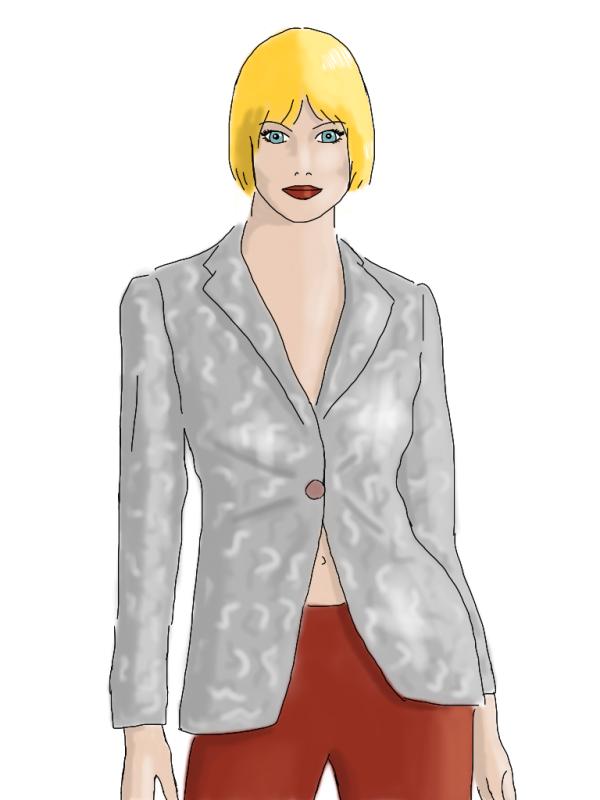 brocade jacket, red pants, by kim dolan