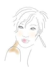 short hair, long earring, by kim dolan