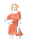 orange dress and hair, by kim dolan