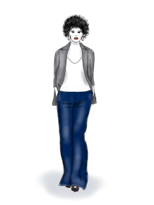 blue pants grey jacket, by kim dolan