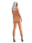 fashion illustration, orange suit, by kim dolan