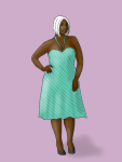 green striped dress - 8x8 canvas - ordered, by Kim Dolan
