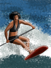 woman, stand-up paddling, by kim dolan