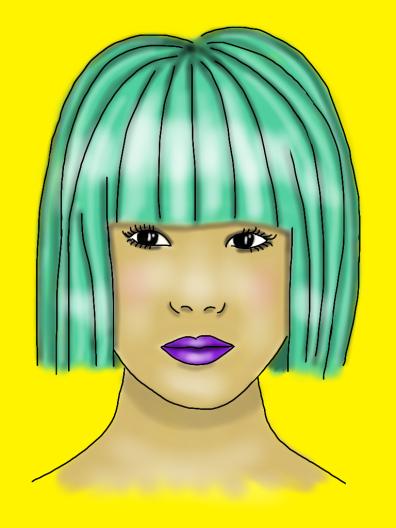 Asian face green hair