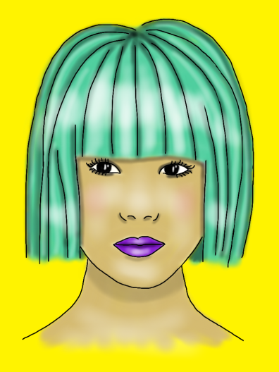 Asian face green hair