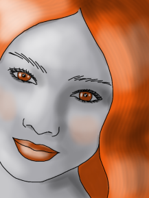 orange hair grey face