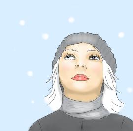 winter hat 8x12 canvas