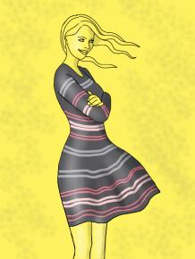 grey striped dress kim dolan