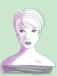 purple green short hair