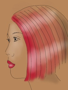 woman in beige pink hair