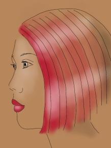 woman in beige pink hair