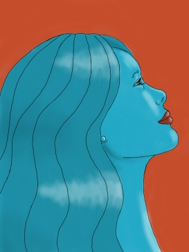 woman in blue red background
