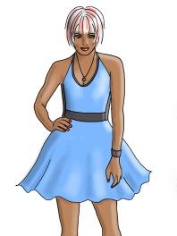 blue dress pink white hair
